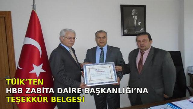 TÜİK'ten HBB Zabıta Daire Başkanlığı'na teşekkür belgesi