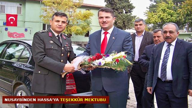 Nusaybin'den Hassa'ya teşekkür mektubu