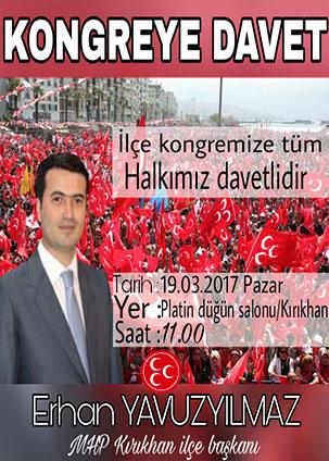 MHP Kırıkhan İlçe Konferansına davet