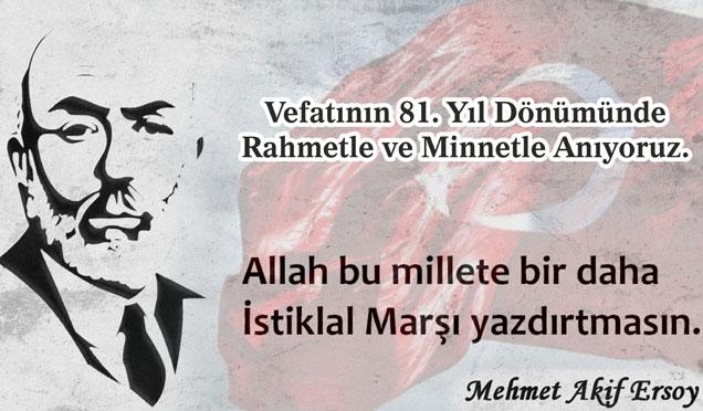 Başkan Kimyeci, vefatının 81. yılında M. Akif Ersoy için anma mesajı verdi