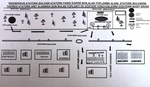 İskenderun'da gösteri ve yürüyüş alanları belirlendi