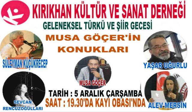 Hataylı şair ve yazarlar Kırıkhan'da bir araya gelecek
