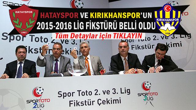 Hatayspor ve Kırıkhanspor'un 2015-2015 Lig Fikstürü belli oldu