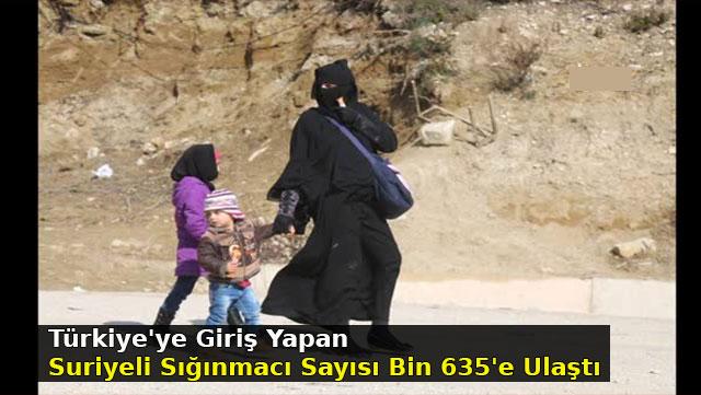 Türkiye'ye giriş yapan Suriyeli sığınmacı sayısı Bin 635'e ulaştı