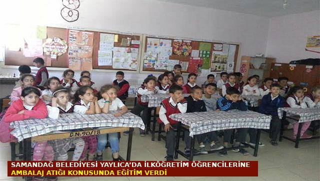 Samandağ Belediyesi Yaylıca'da İlköğretim öğrencilerine ambalaj atığı konusunda eğitim verdi