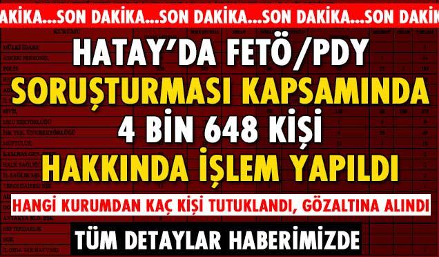 Hatay'da FETÖ/PDY Soruşturmasında 4 Bin 648 kişi hakkında işlem yapıldı