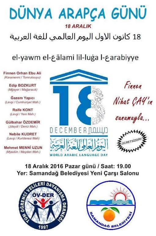 18 Aralık Dünya Arapça Günü Samandağ'da kutlanacak