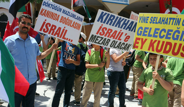 Kırıkhan'da İsrail ve Amerika protesto edildi