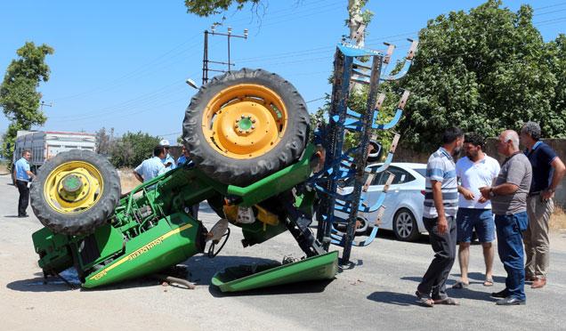 Kamyonla traktör çarpıştı, 1 yaralı