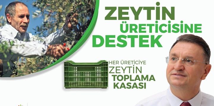 Büyükşehir'den Üreticiye Zeytin Toplama Kasası