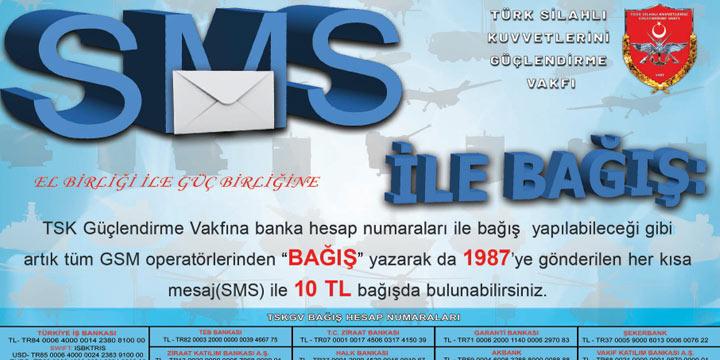 TSKGV'na kısa mesajla bağış yolu açıldı
