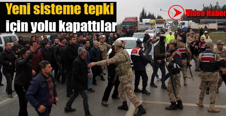 TIR Şoförleri Antakya-İskenderun yolunda eylem yaptı