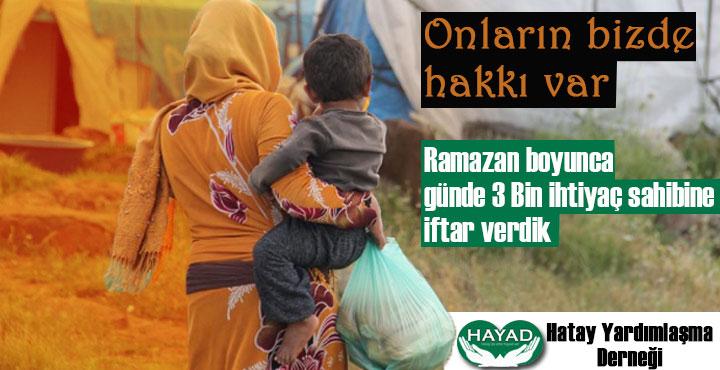 HAYAD Derneğinden ihtiyaç sahiplerine 3 bin kişilik iftar