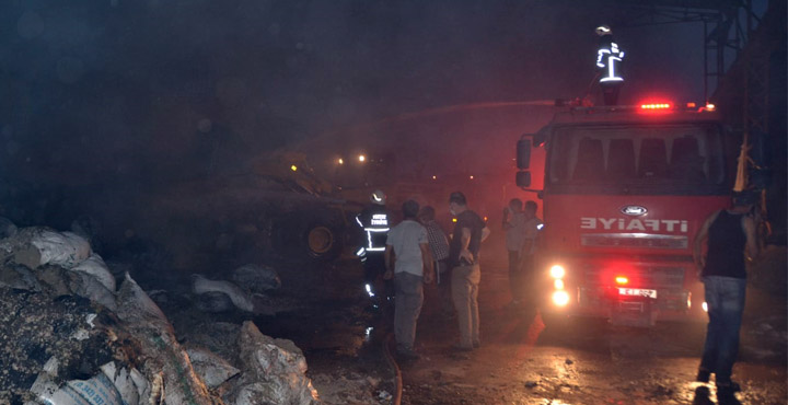Çırçır Fabrikasının deposunda yangın çıktı