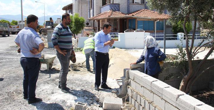 Başkan Eryılmaz, Yaşar Kemal Caddesinde Çalışmaları İnceledi