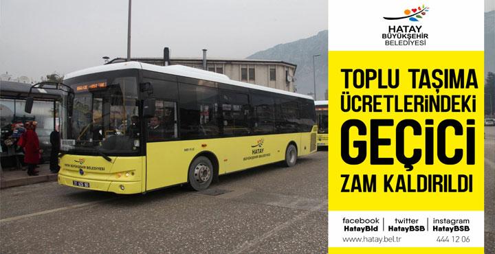 Toplu Taşıma Ücrtelerindeki Geçici Zam Kaldırıldı