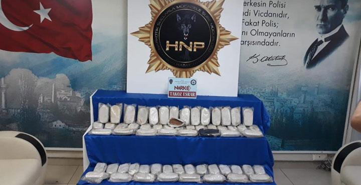 Hatay'da 30 kilo uyuşturucu ele geçirildi; 2 gözaltı