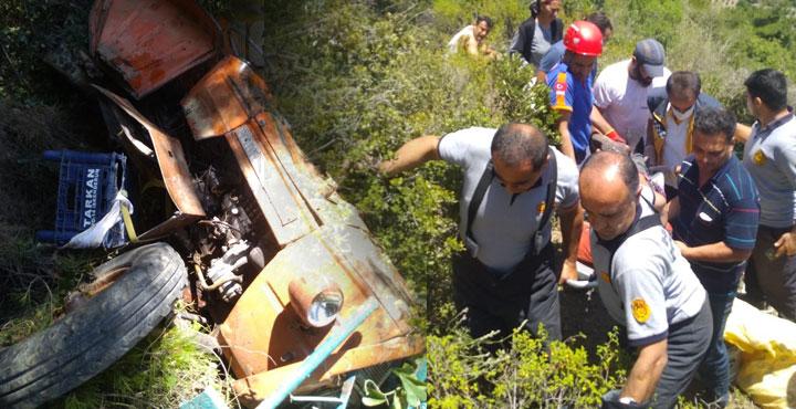 Traktör uçuruma yuvarlandı; 5 yaralı
