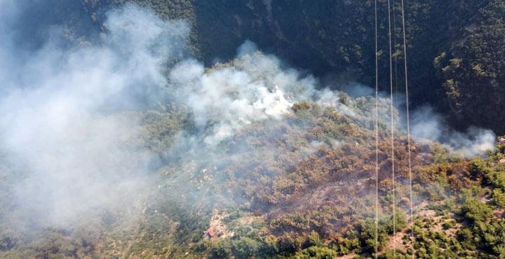 Amanoslardaki yangına havadan müdahale tekrar başladı