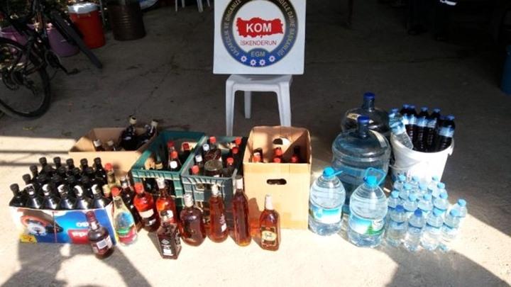 İskenderun'da kaçak içki operasyonu