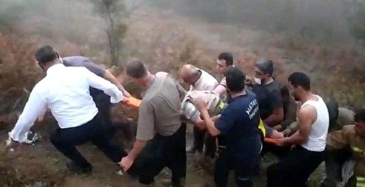 Ayağı kaydı uçuruma yuvarlandı; Yaralı çiftçiyi itfaiye kurtardı
