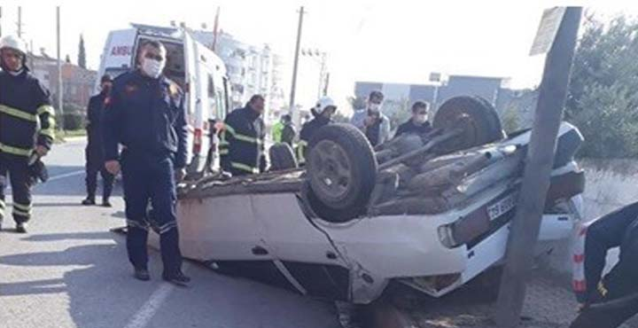 Erzin ilçesinde Uygulama Noktasından Kaçan Otomobil Takla Attı