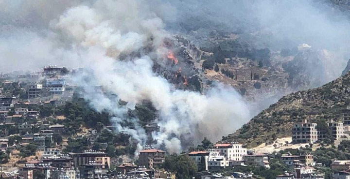 Habib-i Neccar dağında yangın çıktı