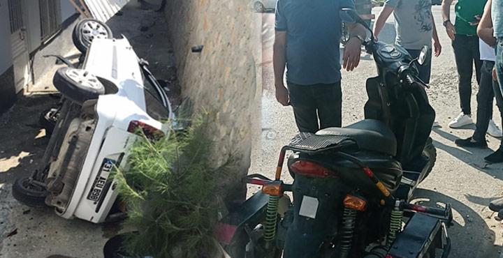 Engelli Motoruna Çarpmamak için Apartman Bahçesine Uçtu