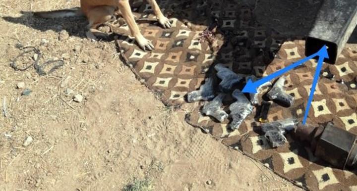 Traktör römorkuna gizli 7 adet tabanca ele geçirildi